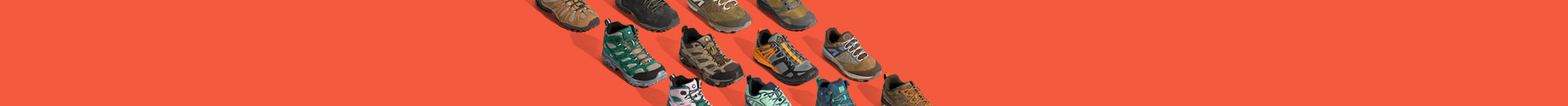 many hiking shoes on an orange background, animated to appear one after another