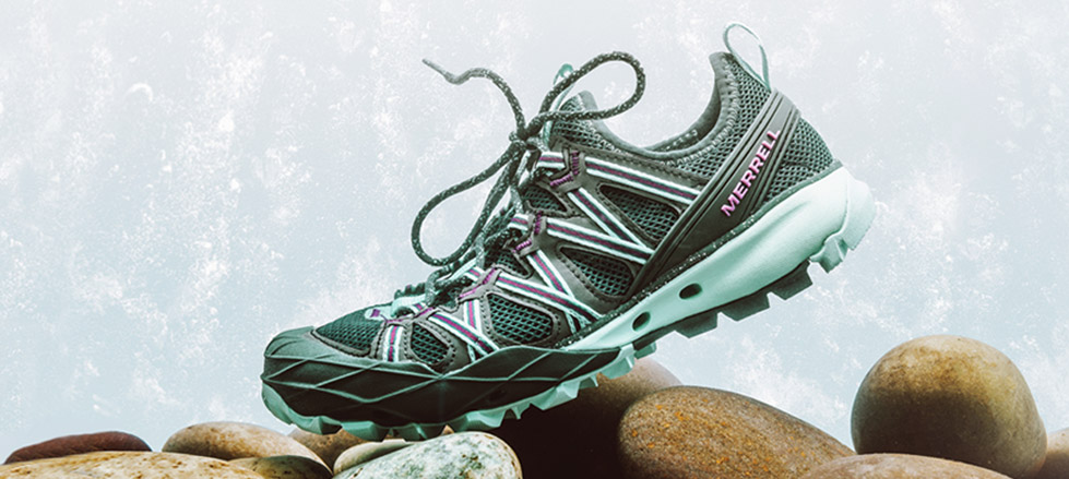 A Choprock shoe on rocks