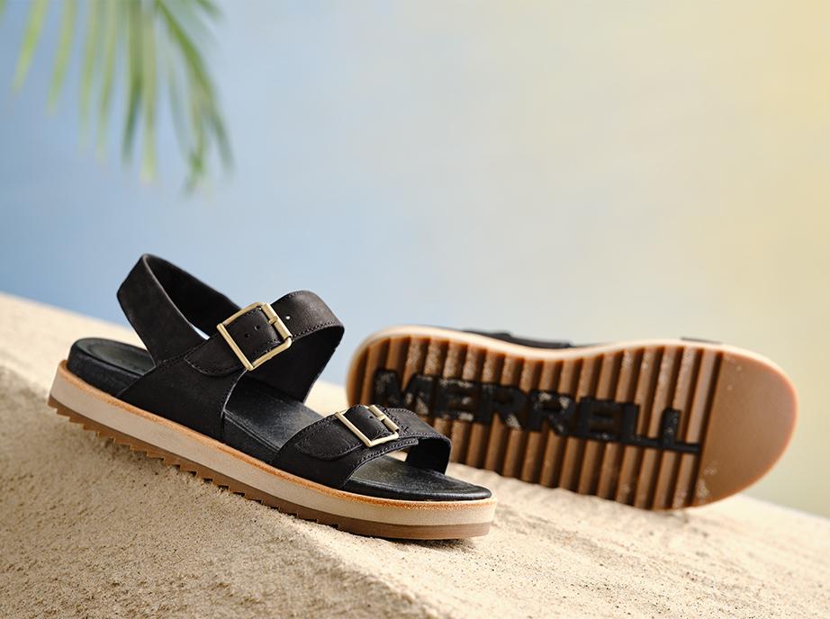 Merrell Sandals on a sunny beach.