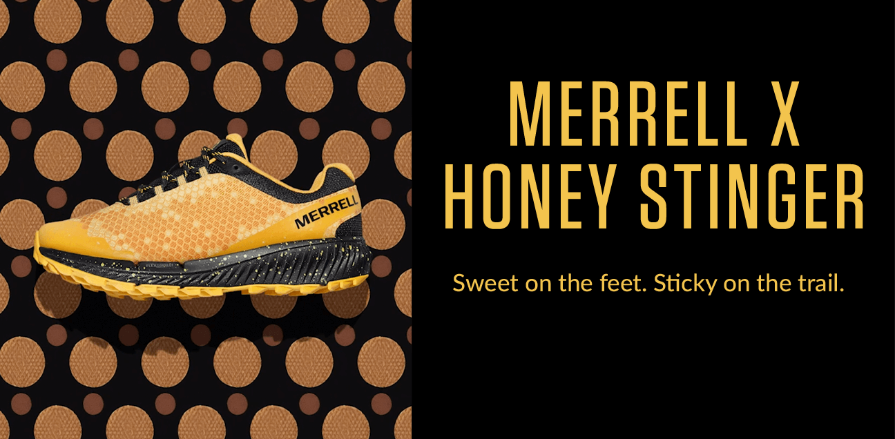 Merrell X Honey Stinger. Sweet on the feet. Sticky on the trail.