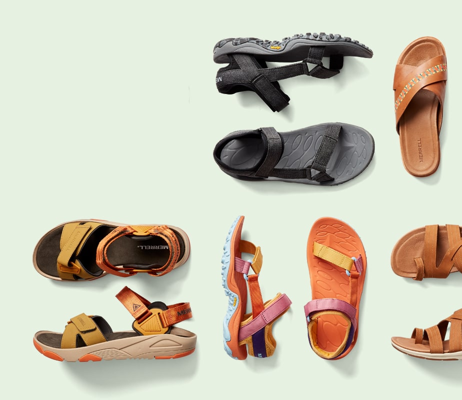 A collection of Merrell sandals.
