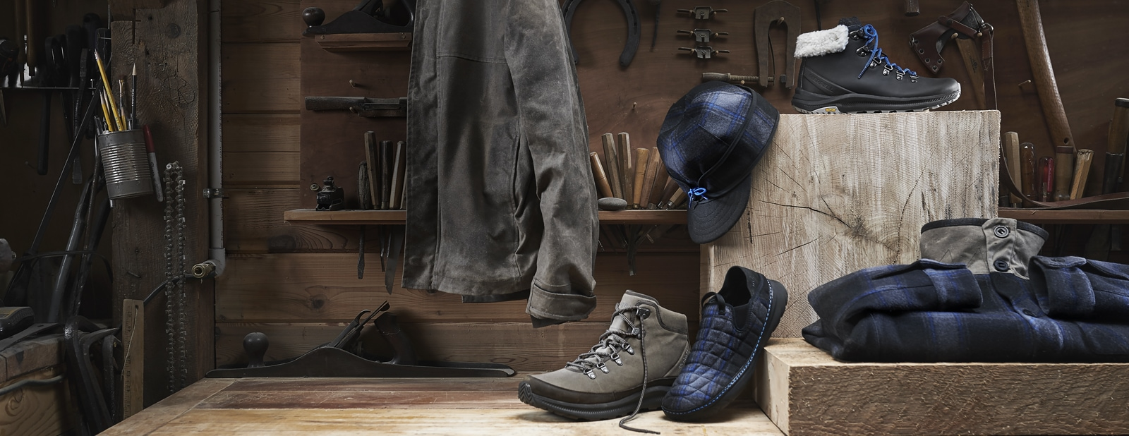 The Stormy Kromer Collection laying around in a woodshop