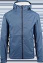 A slate-blue rain jacket with a hood.