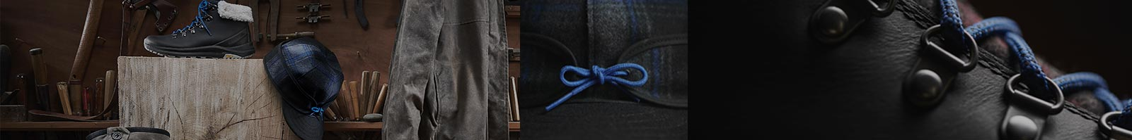 Merrell Merrell X Stormy Kromer collection of blue and black jackets, boots and hat.