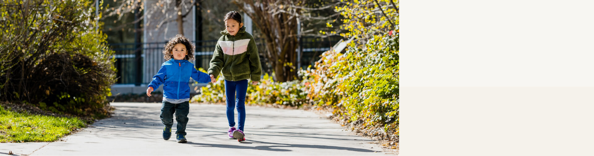 Young kids walking to school.