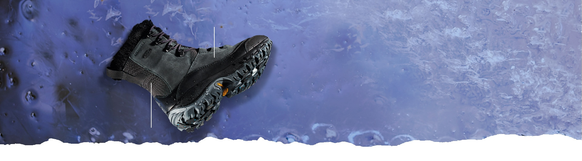 Merrell Thermo Rhea boot over a blue, cold looking surface.