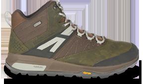 A brown hiking shoe.