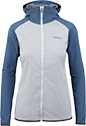 A jacket with blue sleeves and collar and a grey torso.