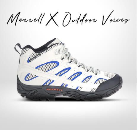 Merrell x Outdoor Voices. White and blue shoe with a dark grey sole.