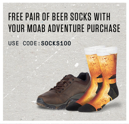 Free Pair of Beer Socks with your Moab Adventure purchase. Use code: SOCKS100