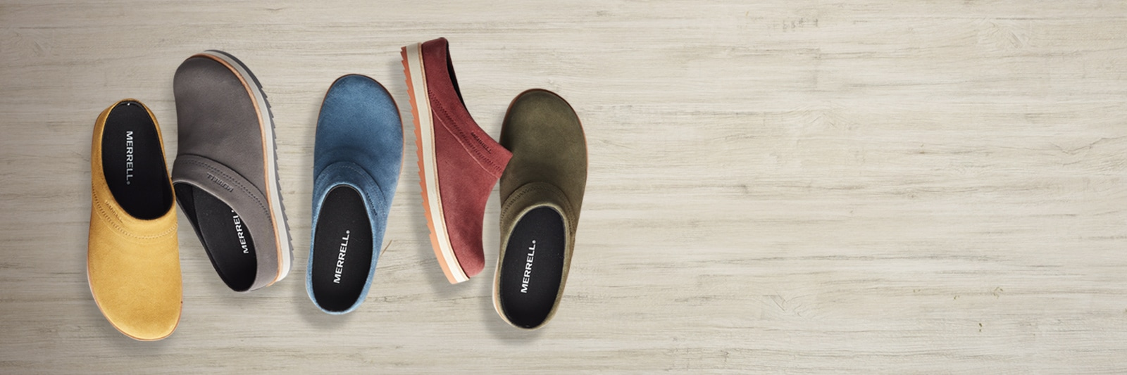 Various Merrell Juno Clogs in Suede