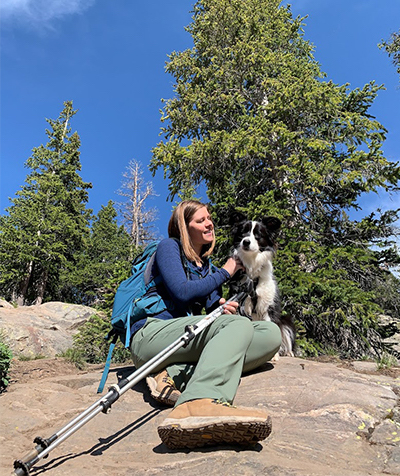 Merrell brand advocate with her dog.