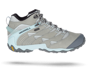 Chameleon 7 shoe in grey and light blue by Merrell.