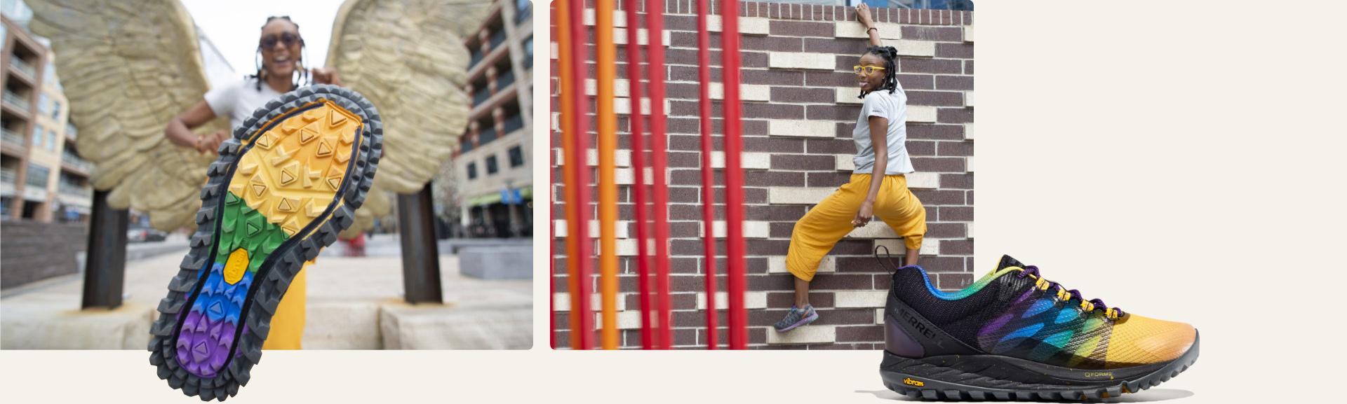 Climbing up a brick wall.
