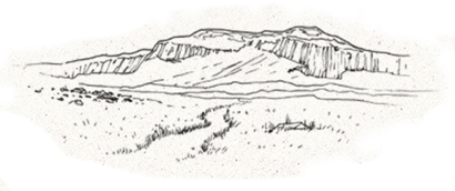 hand drawn sketch of mountains