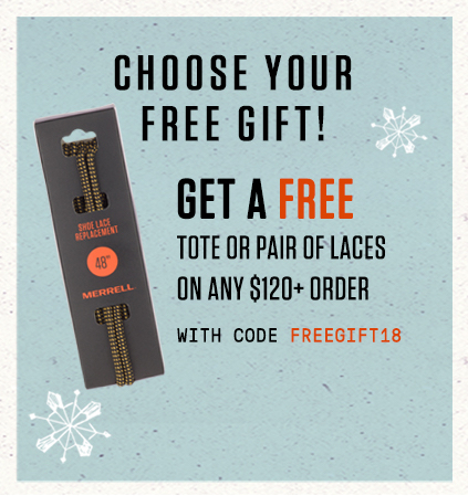 Get a free tote or pair of laces on any $120+ order. Use code FREEGIFT18.