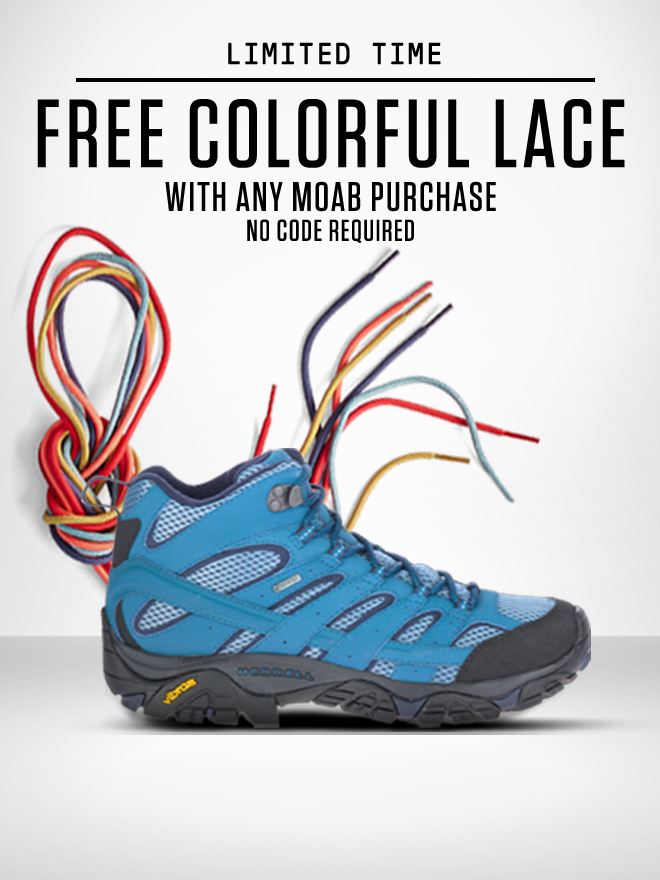 A moab shoe with colorful laces streaming from it's front like tendrils of rainbow joy!