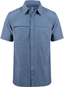 A short-sleeved, quick-drying blue shirt with a collar and zippered pockets.