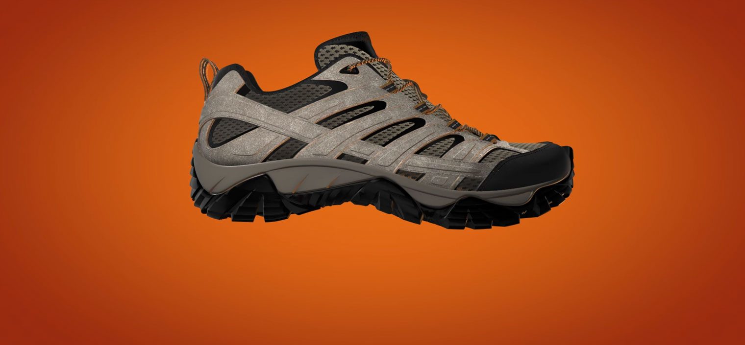 A side view of a low-rise gray and black hiking shoe.