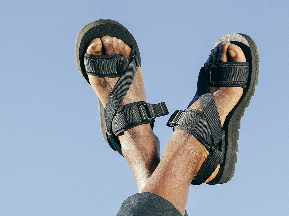 Sandals in the air, like they just don't care.
