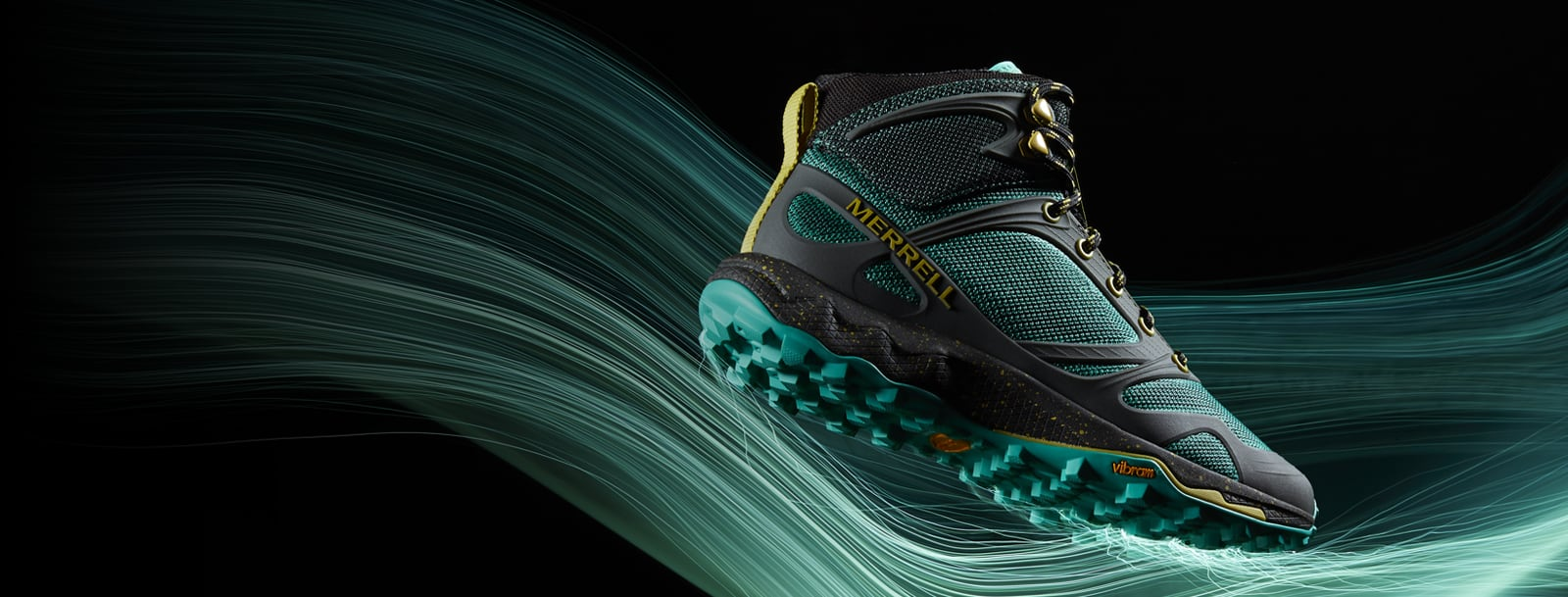 Merrell Altalight Knit shoe over blurred green lines