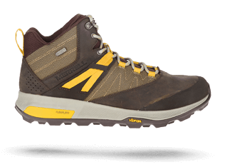 Zion shoe in brown and yellow by Merrell.