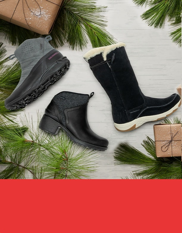 Womens Winter boots and holiday decorations.