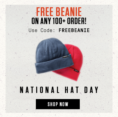 Free Beanie on any 100+ Order | Use Code: FREEBEANIE | National Hat Day | Shop Now