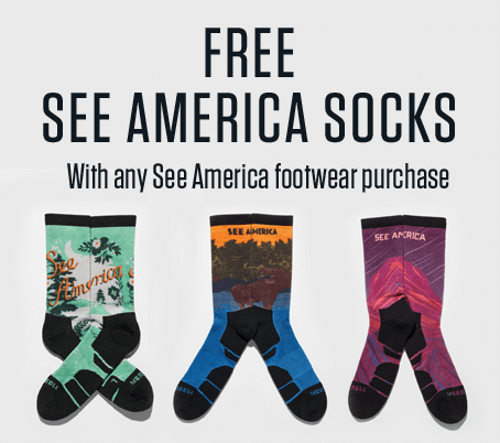 Free see America socks with and See America footwear purchase.