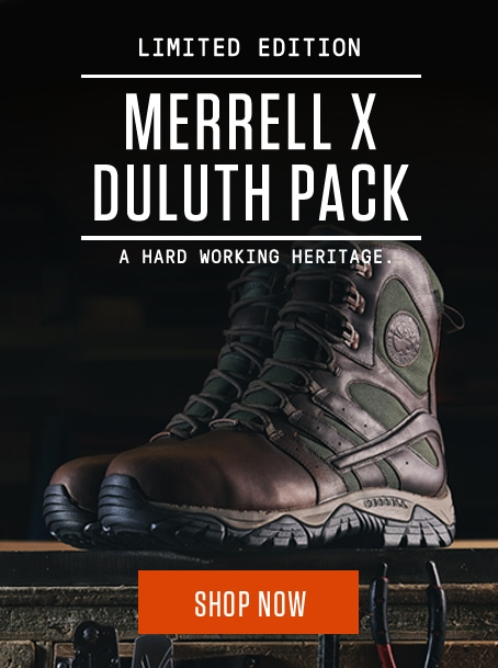 Limited Edition Merrell X Duluth Pack. A Hard Working Heritage. Shop Now.