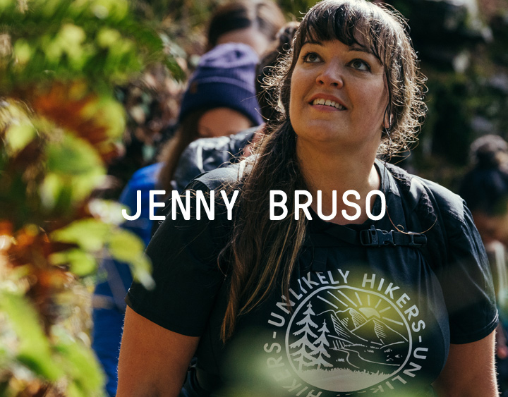 Jenny Bruso leading a line of hikers.