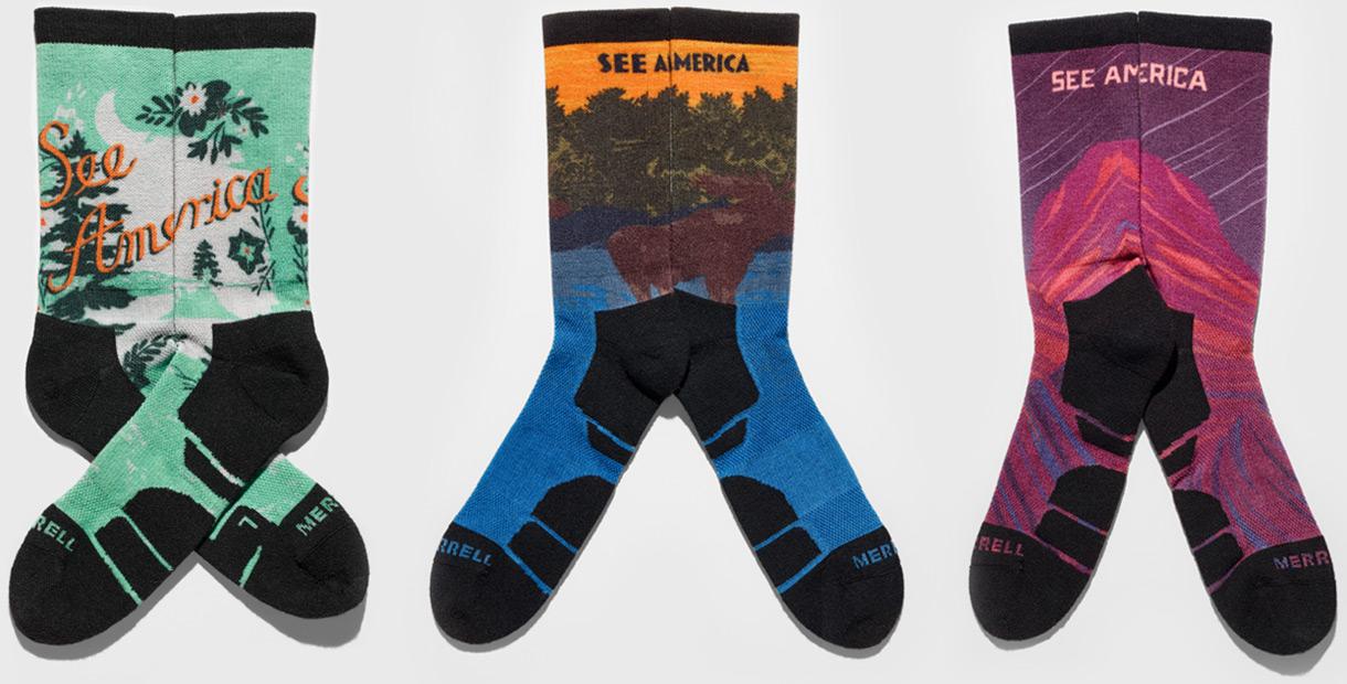 Three pairs of See America socks.