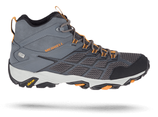 Moab shoe in grey and orange by Merrell.