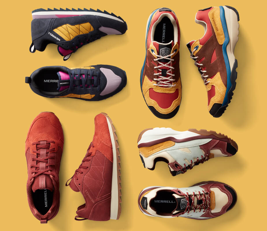 Several colors of retro sneakers shoes.