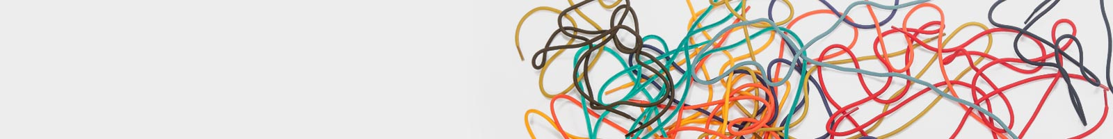 Colorful shoe laces sprawling all over the place.