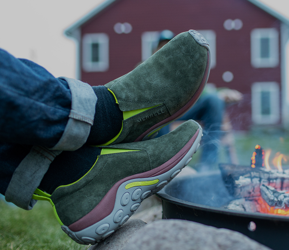 Relaxing in front of a fire on a chilly day, feeling comfortable in your mocs.