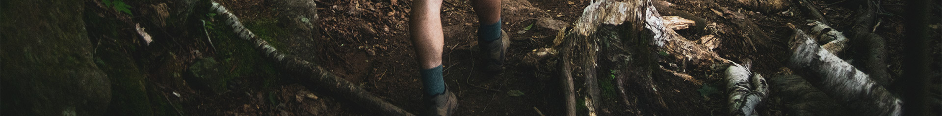 Deep in the forest with fallen birch trees and lots of moss and mushrooms someones foot treds quickly wearing grey hiking boots and tall blue socks