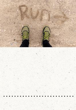 Run written in the sand
