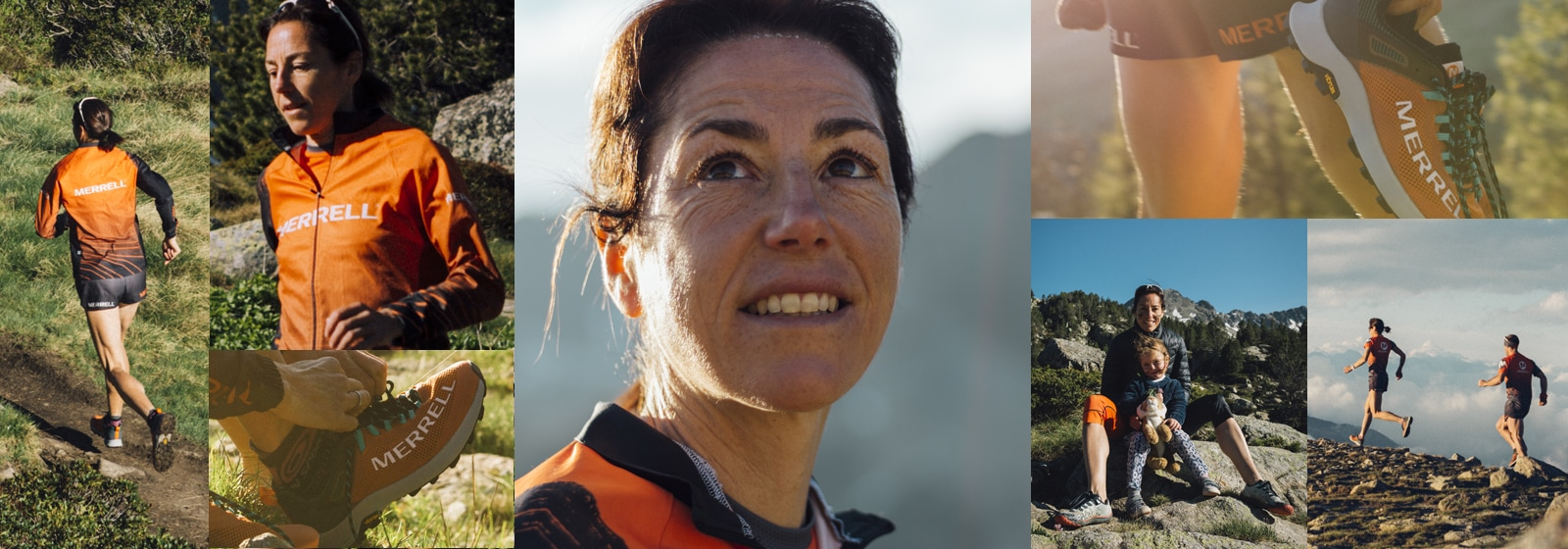 A collage of photos of the Merrell MTL Long Sky and Ranga Debats