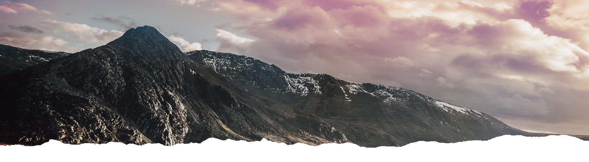 Mountain terrain with purple skys