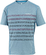 A light blue tee shirt with horizontal stripes across the middle of the torso.