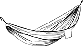 Line drawing of a hammock with a small pocket hanging off one side.