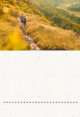 Two people running on a trail
