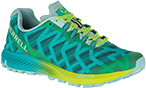 A teal and lime green hiking sneaker.