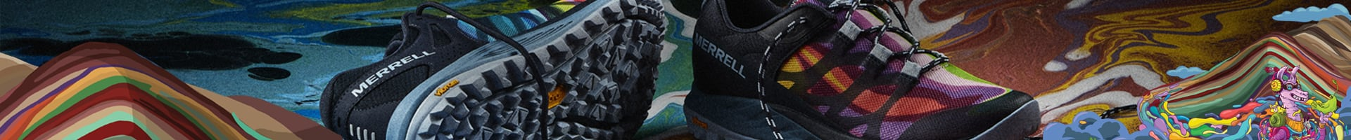 A mens and womens Merrell Rainbow Mountain shoe over a very colorful background