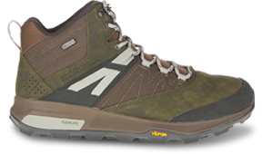 A brown hiking shoe.