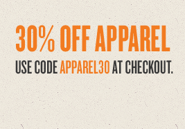 Extra 30% off apparel with code APPAREL30