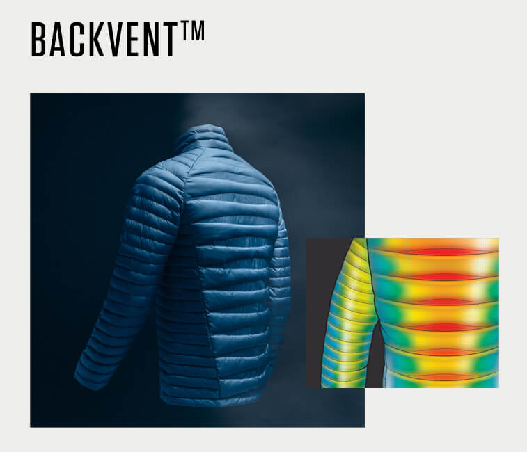 A heatmap showing the warmth and breathability of BackVent baffles on a jacket.