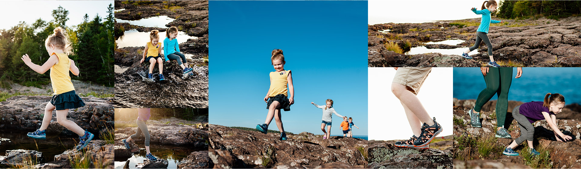 Collage of photos of kids in Choprocks.