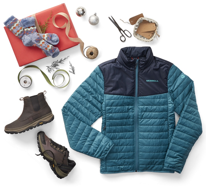 An assortment of Merrell holiday favorites including a down jackets, shoe, and boot.